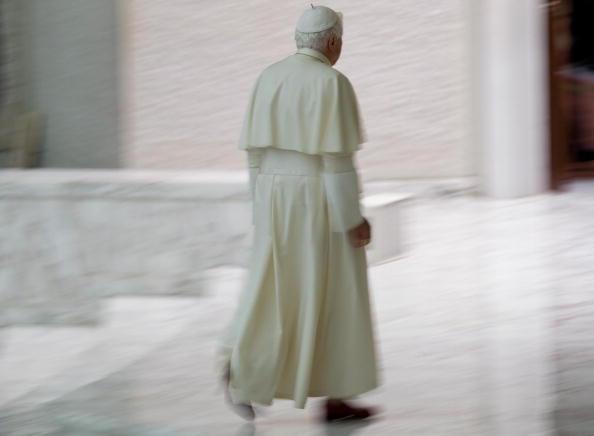 Pope Benedict XVI leaves the Paul VI aud