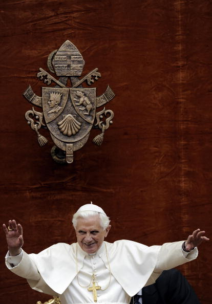 Pope Benedict XVI blesses faithful at th