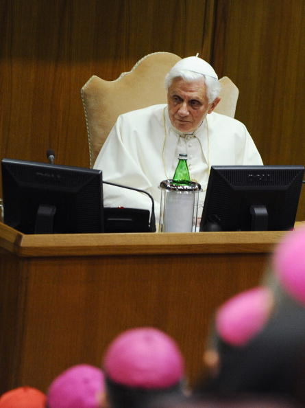 Pope Benedict XVI speaks during a meetin