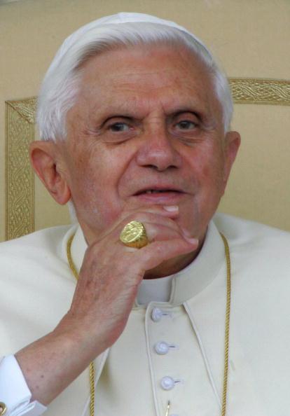Pope Benedict XVI looks at the pilgrims