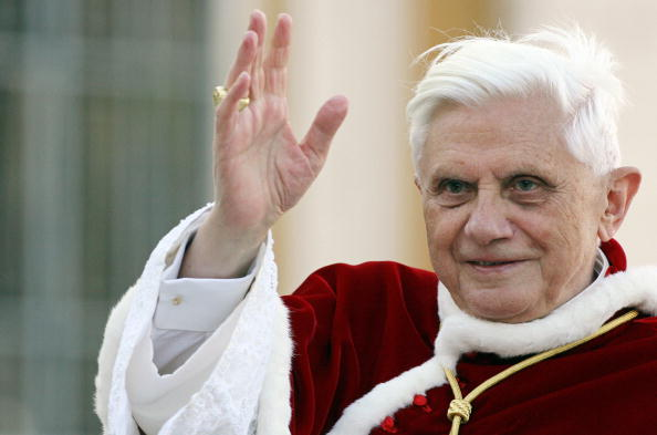 Pope Benedict XVI waves as his arrives t