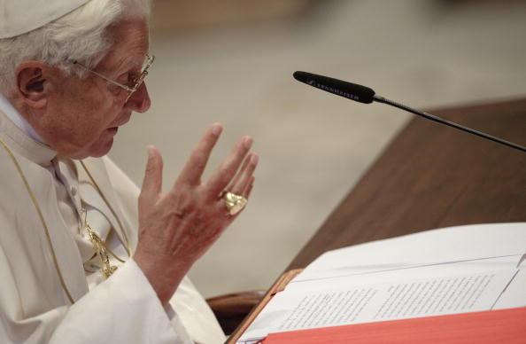 Pope Benedict XVI reads his message in S