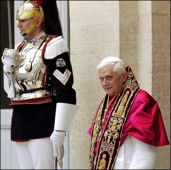 Pope Benedict XVI made his first official visit to the Italian president Carlo Azeglio Ciampi at the Quirinale Palace in Rome, Italy on June 24th, 2005.
