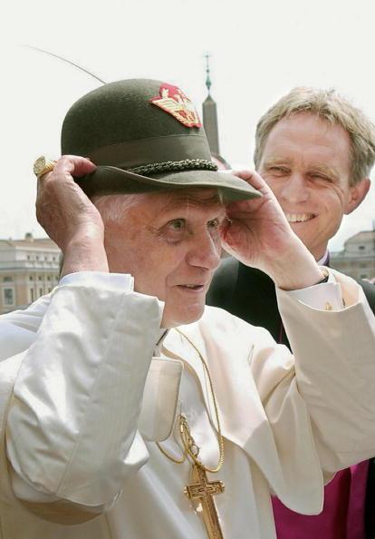 Pope Benedict XVI wears an Italian alpin