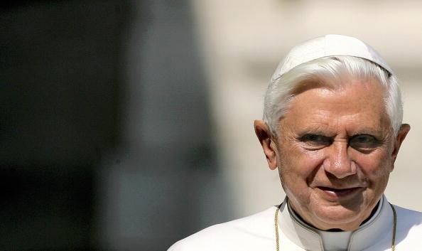 Pope Benedict XVI smiles as he arrives i