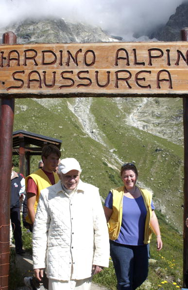 MONT BLANC, ITALY - JULY 22: Pope Benedict XVI visits the Saussurea Alpine Botanical Gardens during an excursion on Mt. Blanc, July 22, 2005 in Aosta Valley, northern Italy. (Photo by L'Osservatore Romano-Vatican Pool/ Getty Images)